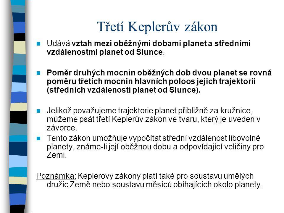 Třetí Keplerův zákon Udává vztah mezi oběžnými dobami planet a středními vzdálenostmi planet od Slunce. Poměr druhých mocnin oběžných dob dvou planet
