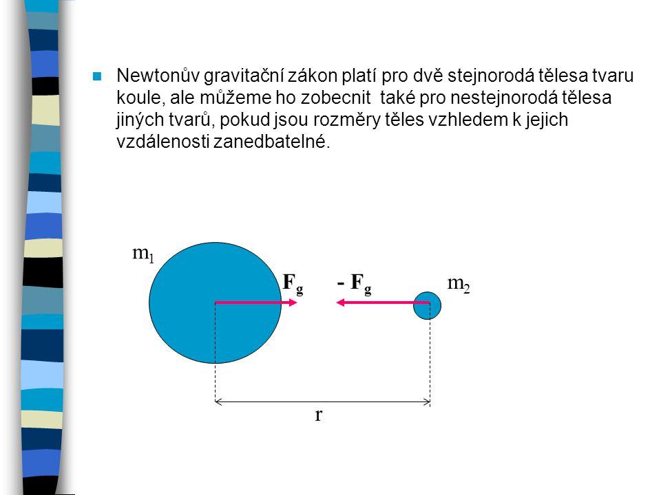 Newtonův gravitační zákon platí pro dvě stejnorodá tělesa tvaru koule, ale můžeme ho zobecnit také pro nestejnorodá tělesa jiných tvarů, pokud jsou ro