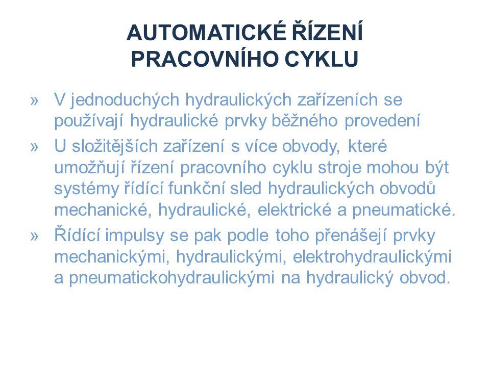 AUTOMATICKÉ ŘÍZENÍ PRACOVNÍHO CYKLU »V jednoduchých hydraulických zařízeních se používají hydraulické prvky běžného provedení »U složitějších zařízení