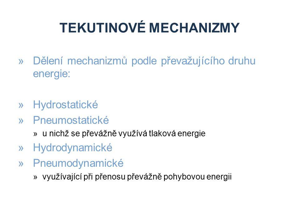 TEKUTINOVÉ MECHANIZMY »Dělení mechanizmů podle převažujícího druhu energie: »Hydrostatické »Pneumostatické »u nichž se převážně využívá tlaková energi