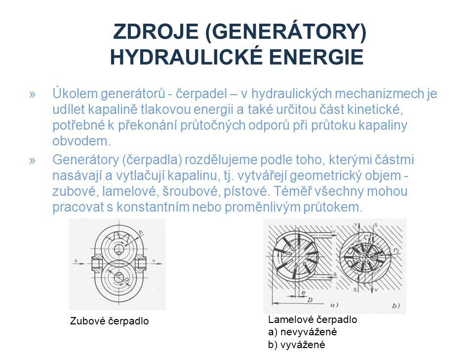 ZDROJE (GENERÁTORY) HYDRAULICKÉ ENERGIE »Úkolem generátorů - čerpadel – v hydraulických mechanizmech je udílet kapalině tlakovou energii a také určitou část kinetické, potřebné k překonání průtočných odporů při průtoku kapaliny obvodem.