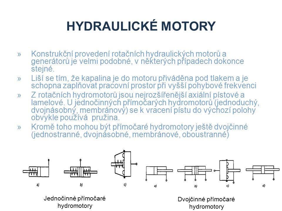 »Konstrukční provedení rotačních hydraulických motorů a generátorů je velmi podobné, v některých případech dokonce stejné. »Liší se tím, že kapalina j
