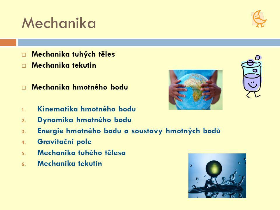 Mechanika  Mechanika tuhých těles  Mechanika tekutin  Mechanika hmotného bodu 1. Kinematika hmotného bodu 2. Dynamika hmotného bodu 3. Energie hmot