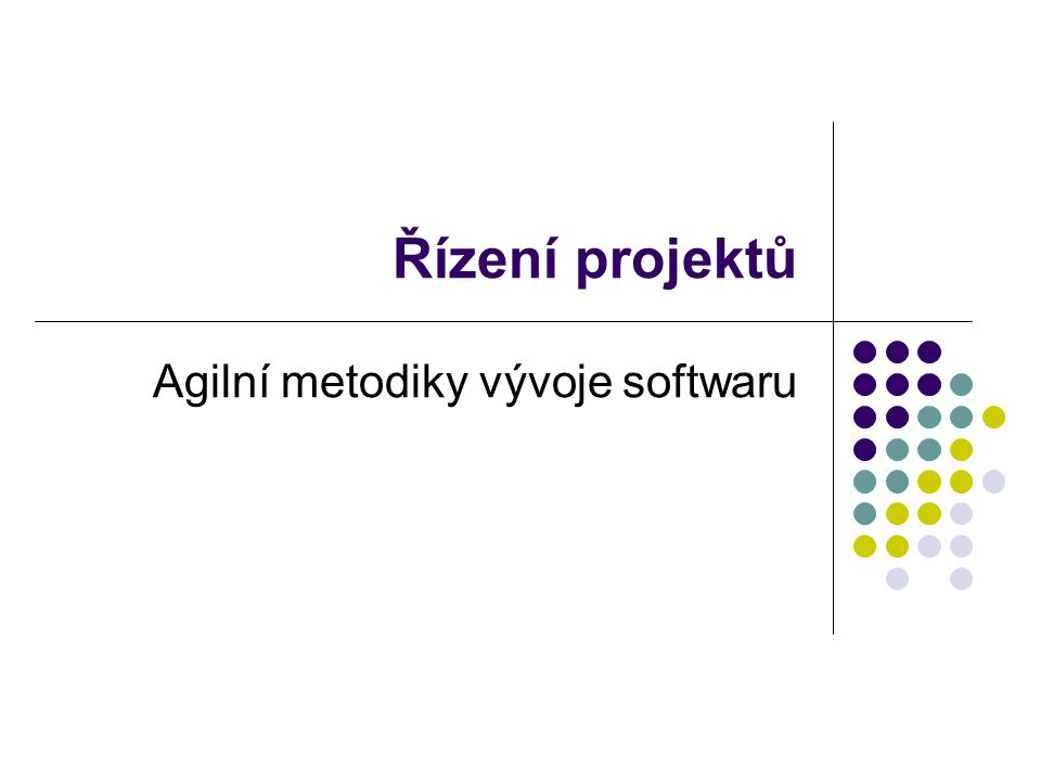 Řízení projektů Agilní metodiky vývoje softwaru