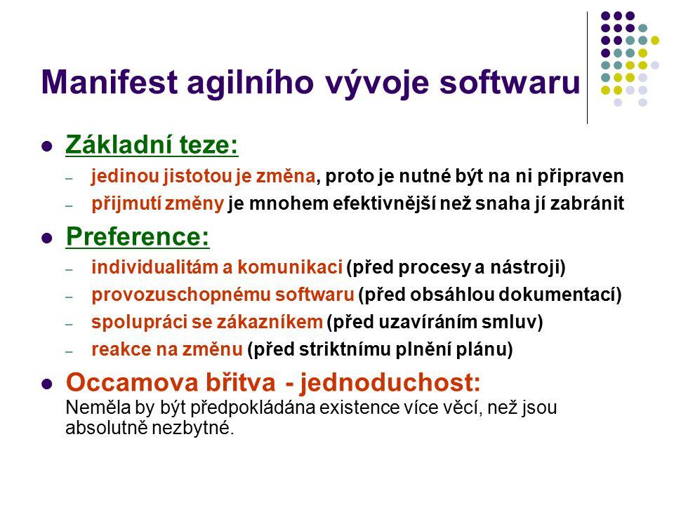 Manifest agilního vývoje softwaru Základní teze: – jedinou jistotou je změna, proto je nutné být na ni připraven – přijmutí změny je mnohem efektivněj