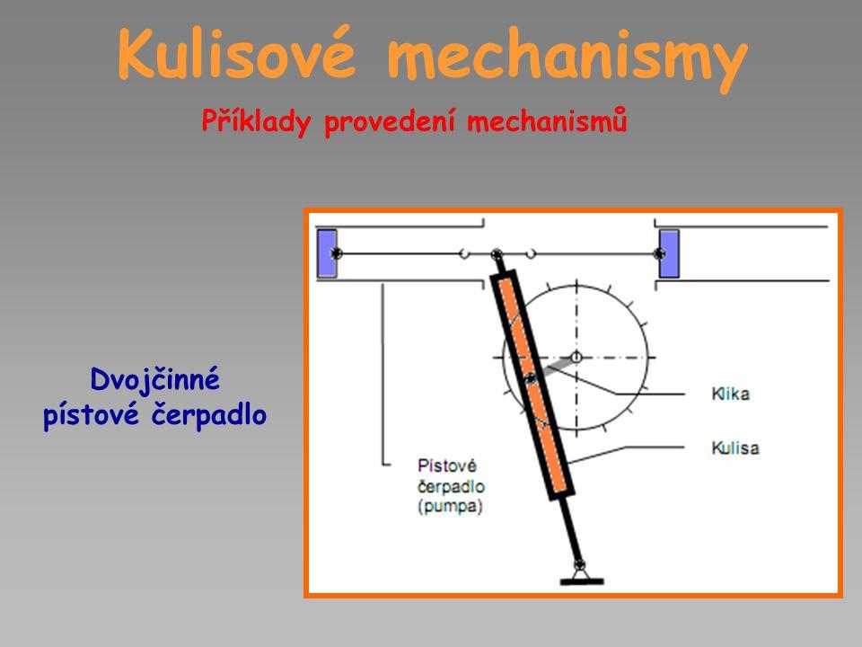 Kulisové mechanismy Příklady provedení mechanismů Dvojčinné pístové čerpadlo