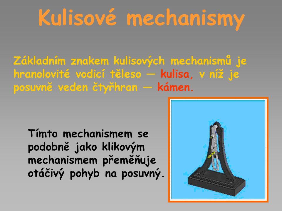 Kulisové mechanismy Základním znakem kulisových mechanismů je hranolovité vodicí těleso — kulisa, v níž je posuvně veden čtyřhran — kámen. Tímto mecha