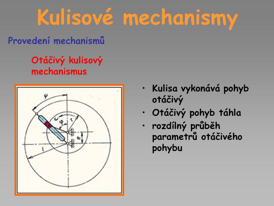 Kulisové mechanismy Otáčivý kulisový mechanismus Kulisa vykonává pohyb otáčivý Otáčivý pohyb táhla rozdílný průběh parametrů otáčivého pohybu Provedení mechanismů