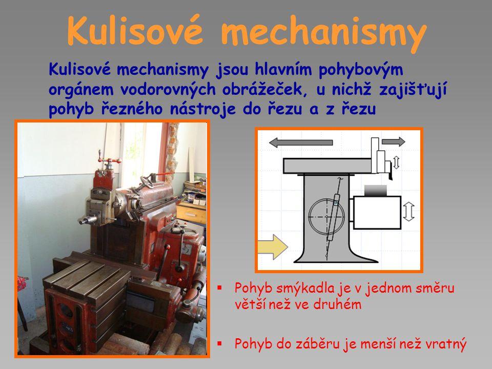 Kulisové mechanismy Kulisové mechanismy jsou hlavním pohybovým orgánem vodorovných obrážeček, u nichž zajišťují pohyb řezného nástroje do řezu a z řezu  Pohyb smýkadla je v jednom směru větší než ve druhém  Pohyb do záběru je menší než vratný
