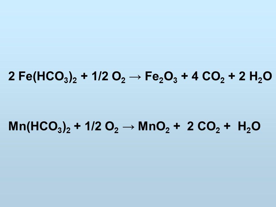 2 Fe(HCO 3 ) 2 + 1/2 O 2 → Fe 2 O 3 + 4 CO 2 + 2 H 2 O Mn(HCO 3 ) 2 + 1/2 O 2 → MnO 2 + 2 CO 2 + H 2 O