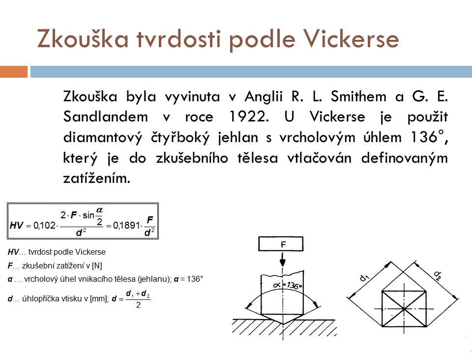 Zkouška tvrdosti podle Vickerse Zkouška byla vyvinuta v Anglii R. L. Smithem a G. E. Sandlandem v roce 1922. U Vickerse je použit diamantový čtyřboký