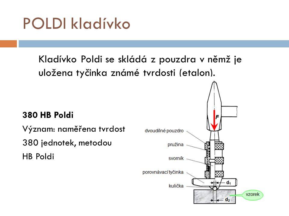 POLDI kladívko Kladívko Poldi se skládá z pouzdra v němž je uložena tyčinka známé tvrdosti (etalon). 380 HB Poldi Význam: naměřena tvrdost 380 jednote