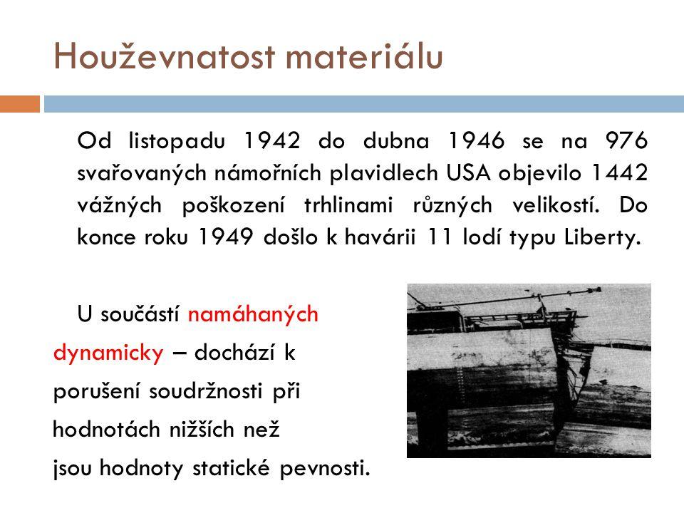 Houževnatost materiálu Od listopadu 1942 do dubna 1946 se na 976 svařovaných námořních plavidlech USA objevilo 1442 vážných poškození trhlinami různýc