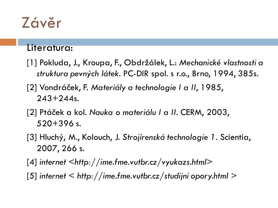 Závěr Literatura: [1] Pokluda, J., Kroupa, F., Obdržálek, L.: Mechanické vlastnosti a struktura pevných látek. PC-DIR spol. s r.o., Brno, 1994, 385s.