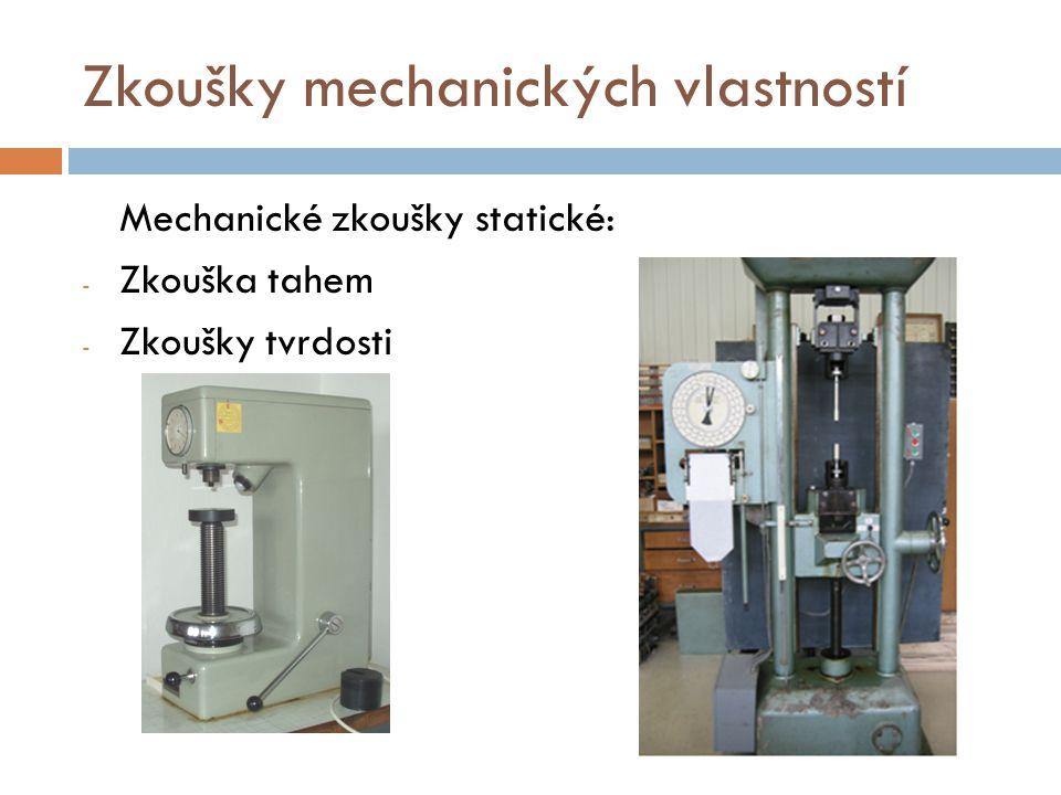 Zkoušky mechanických vlastností Mechanické zkoušky statické: - Zkouška tahem - Zkoušky tvrdosti