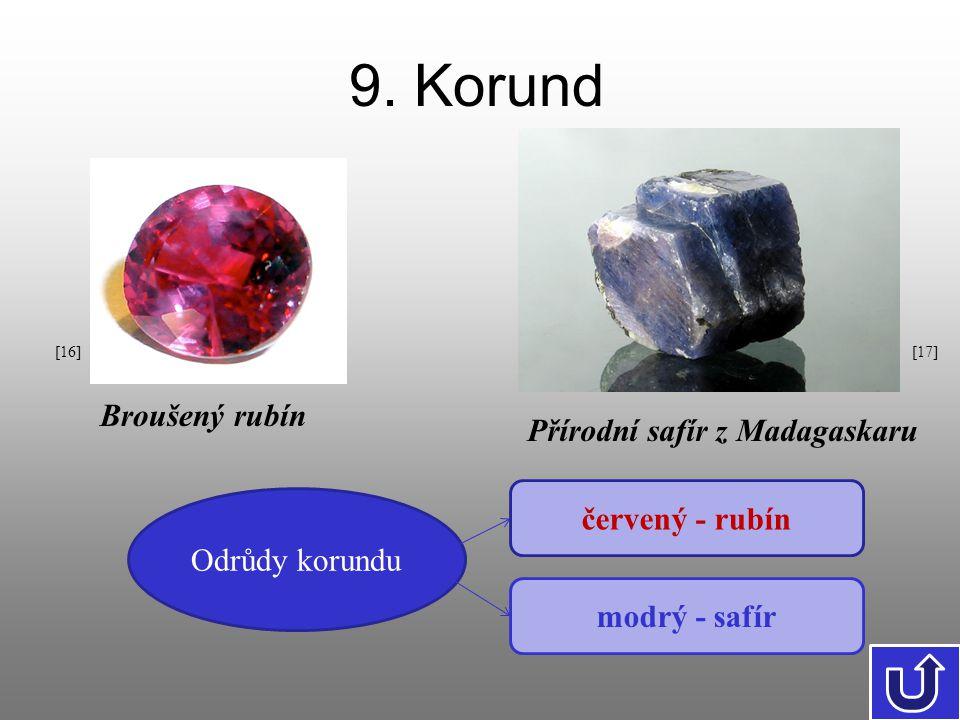9. Korund Odrůdy korundu červený - rubín modrý - safír Přírodní safír z Madagaskaru Broušený rubín [17][16]