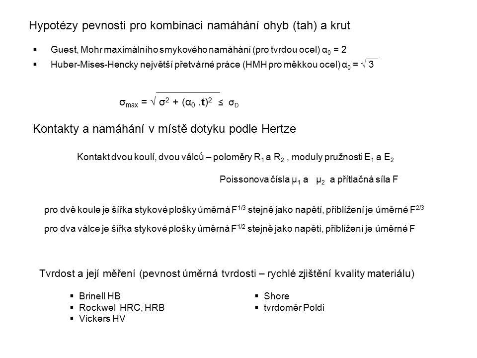 Hypotézy pevnosti pro kombinaci namáhání ohyb (tah) a krut  Guest, Mohr maximálního smykového namáhání (pro tvrdou ocel) α 0 = 2  Huber-Mises-Hencky