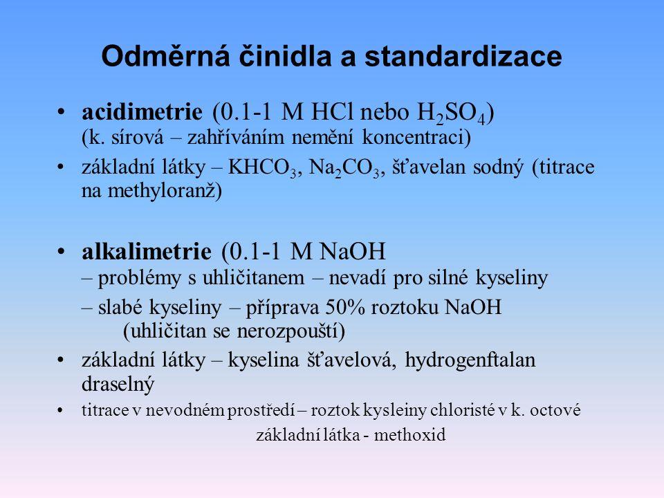 Odměrná činidla a standardizace acidimetrie (0.1-1 M HCl nebo H 2 SO 4 ) (k. sírová – zahříváním nemění koncentraci) základní látky – KHCO 3, Na 2 CO