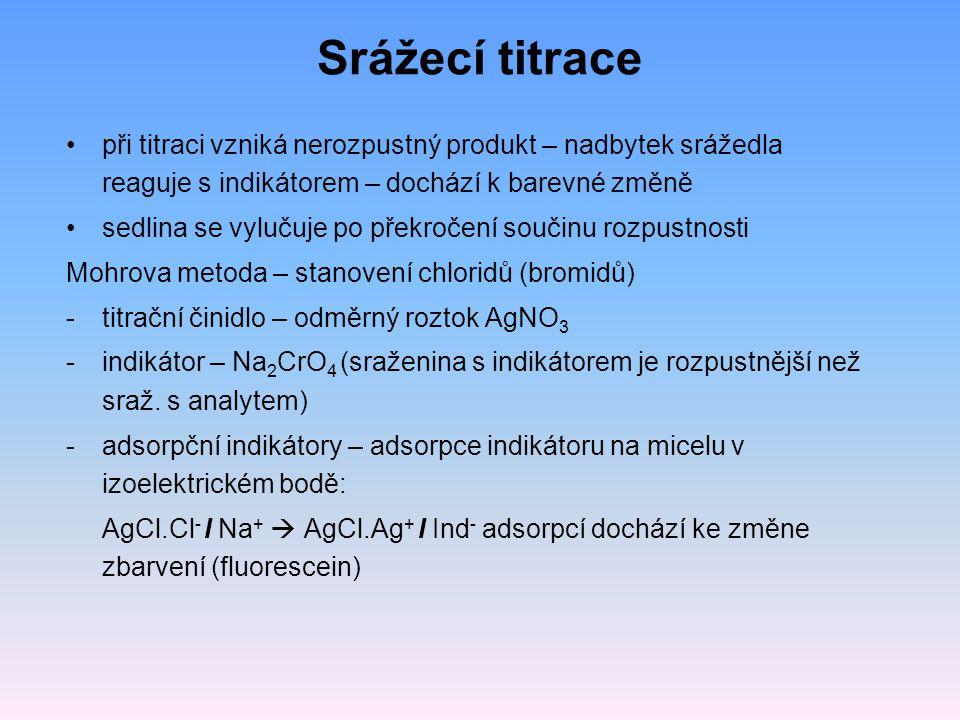 Srážecí titrace při titraci vzniká nerozpustný produkt – nadbytek srážedla reaguje s indikátorem – dochází k barevné změně sedlina se vylučuje po přek