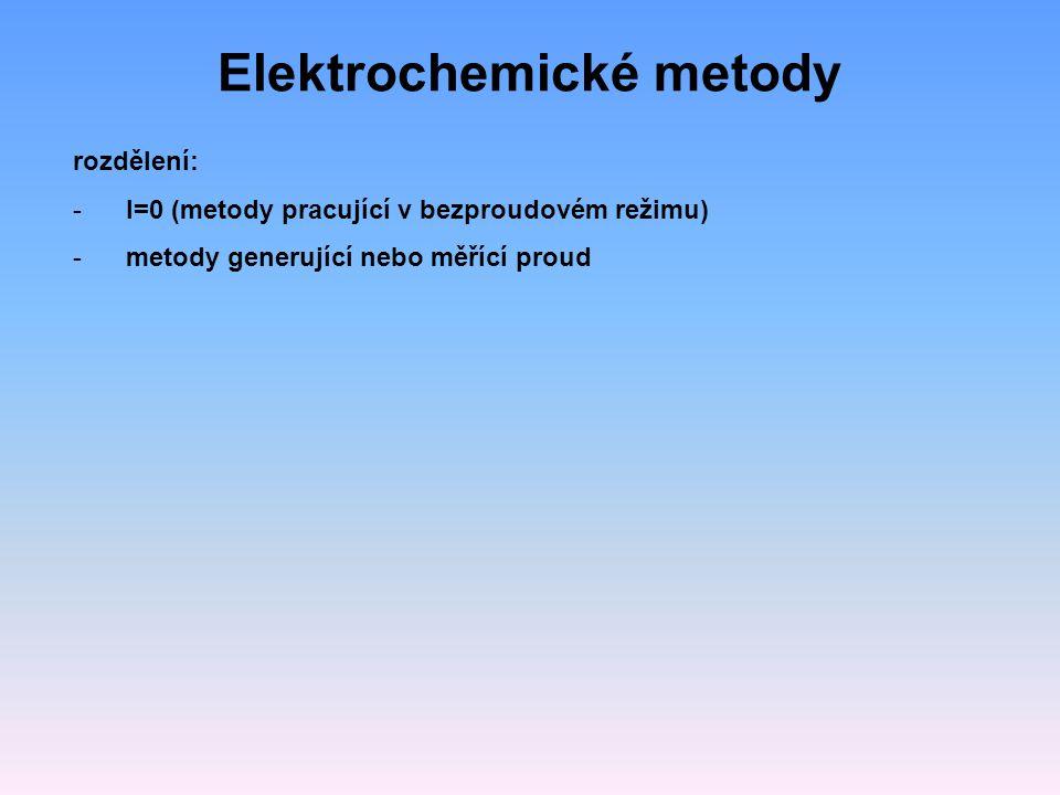 Elektrochemické metody rozdělení: -I=0 (metody pracující v bezproudovém režimu) -metody generující nebo měřící proud