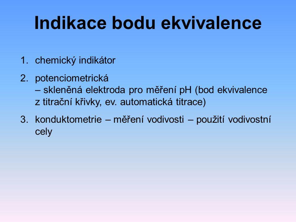 Indikace bodu ekvivalence 1.chemický indikátor 2.potenciometrická – skleněná elektroda pro měření pH (bod ekvivalence z titrační křivky, ev. automatic