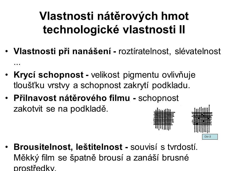 Vlastnosti nátěrových hmot technologické vlastnosti II Vlastnosti při nanášení - roztíratelnost, slévatelnost... Krycí schopnost - velikost pigmentu o