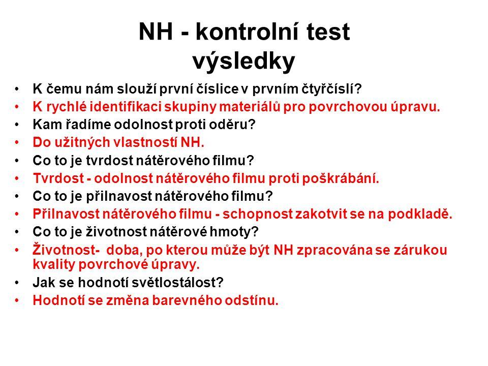 NH - kontrolní test výsledky K čemu nám slouží první číslice v prvním čtyřčíslí? K rychlé identifikaci skupiny materiálů pro povrchovou úpravu. Kam řa