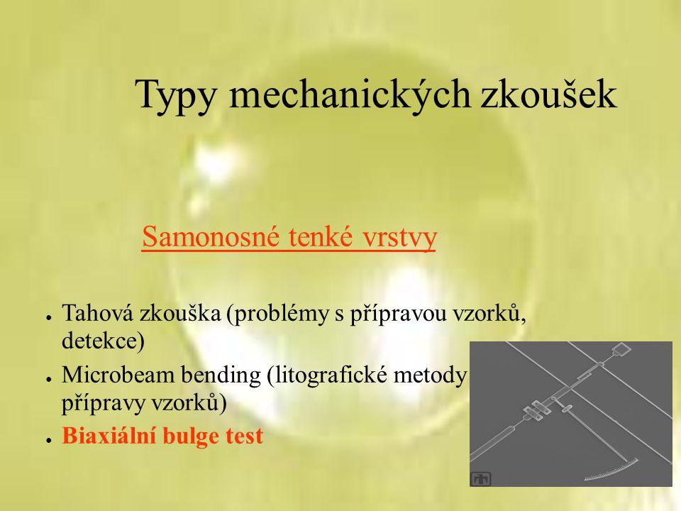 Typy mechanických zkoušek Samonosné tenké vrstvy ● Tahová zkouška (problémy s přípravou vzorků, detekce) ● Microbeam bending (litografické metody příp