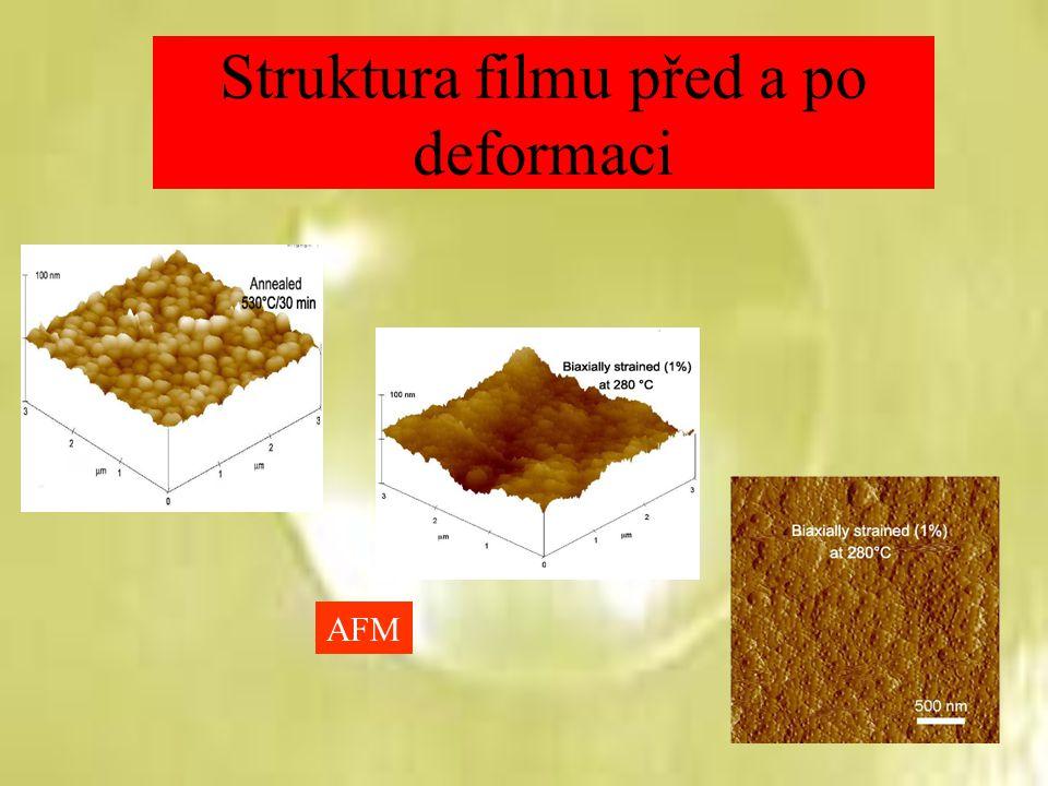 Struktura filmu před a po deformaci AFM