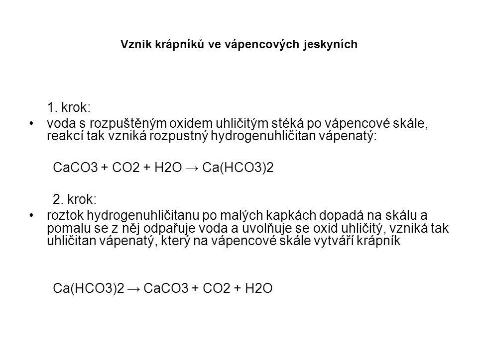 Vznik krápníků ve vápencových jeskyních 1. krok: voda s rozpuštěným oxidem uhličitým stéká po vápencové skále, reakcí tak vzniká rozpustný hydrogenuhl