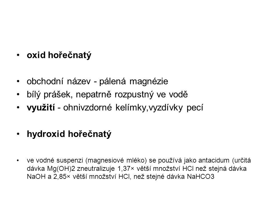 oxid hořečnatý obchodní název - pálená magnézie bílý prášek, nepatrně rozpustný ve vodě využití - ohnivzdorné kelímky,vyzdívky pecí hydroxid hořečnatý