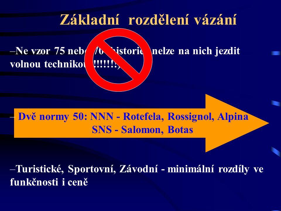 Základní rozdělení vázání –Ne vzor 75 nebo 70 (historie; nelze na nich jezdit volnou technikou !!!!!!!) – Dvě normy 50: NNN - Rotefela, Rossignol, Alp