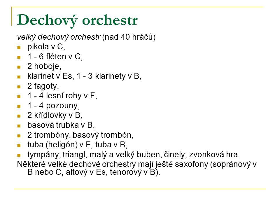 Dechový orchestr velký dechový orchestr (nad 40 hráčů) pikola v C, 1 - 6 fléten v C, 2 hoboje, klarinet v Es, 1 - 3 klarinety v B, 2 fagoty, 1 - 4 les