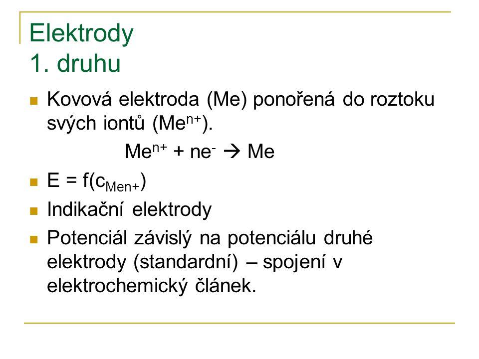 Elektrody 1. druhu Kovová elektroda (Me) ponořená do roztoku svých iontů (Me n+ ). Me n+ + ne -  Me E = f(c Men+ ) Indikační elektrody Potenciál závi