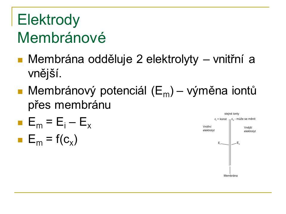 Elektrody Membránové Membrána odděluje 2 elektrolyty – vnitřní a vnější. Membránový potenciál (E m ) – výměna iontů přes membránu E m = E i – E x E m
