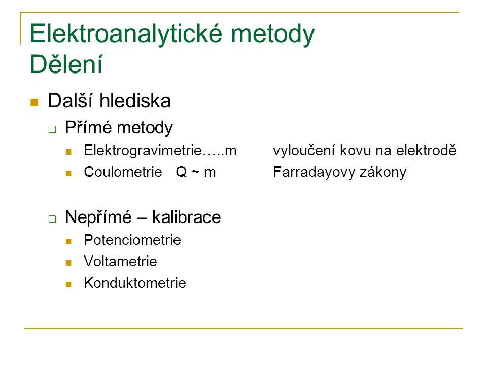 Elektroanalytické metody Dělení Další hlediska  Přímé metody Elektrogravimetrie…..mvyloučení kovu na elektrodě CoulometrieQ ~ mFarradayovy zákony  N