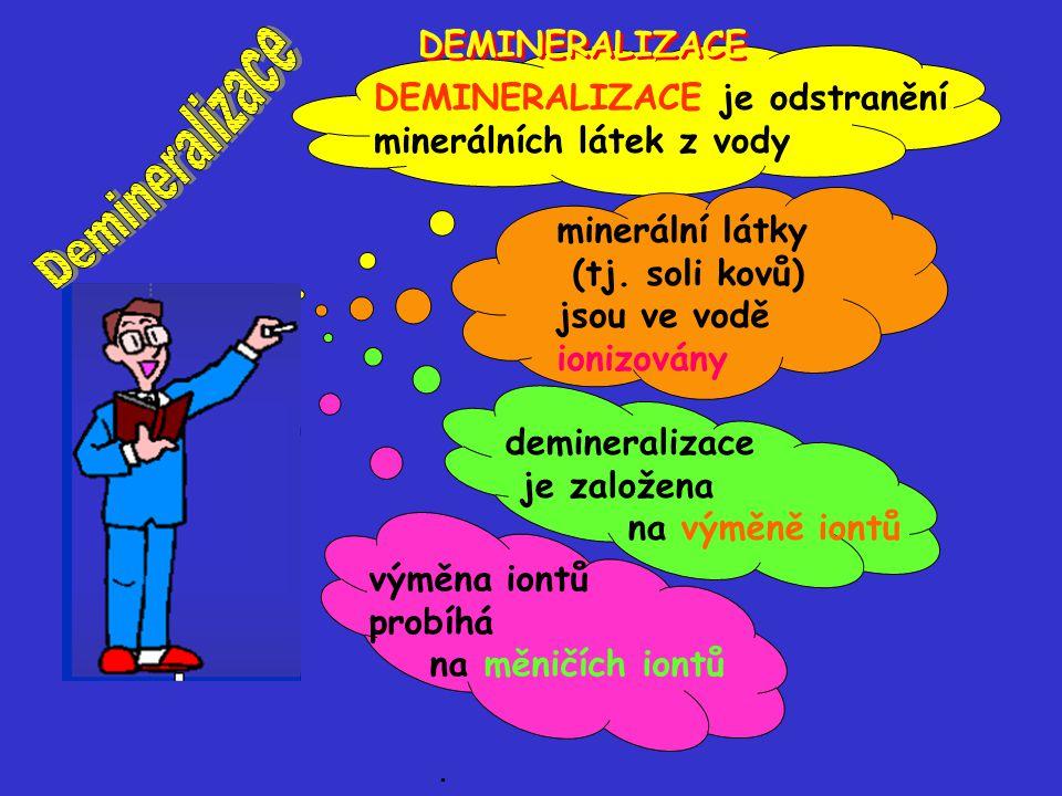 DEMINERALIZACE je odstranění minerálních látek z vody minerální látky (tj. soli kovů) jsou ve vodě ionizovány demineralizace je založena na výměně ion