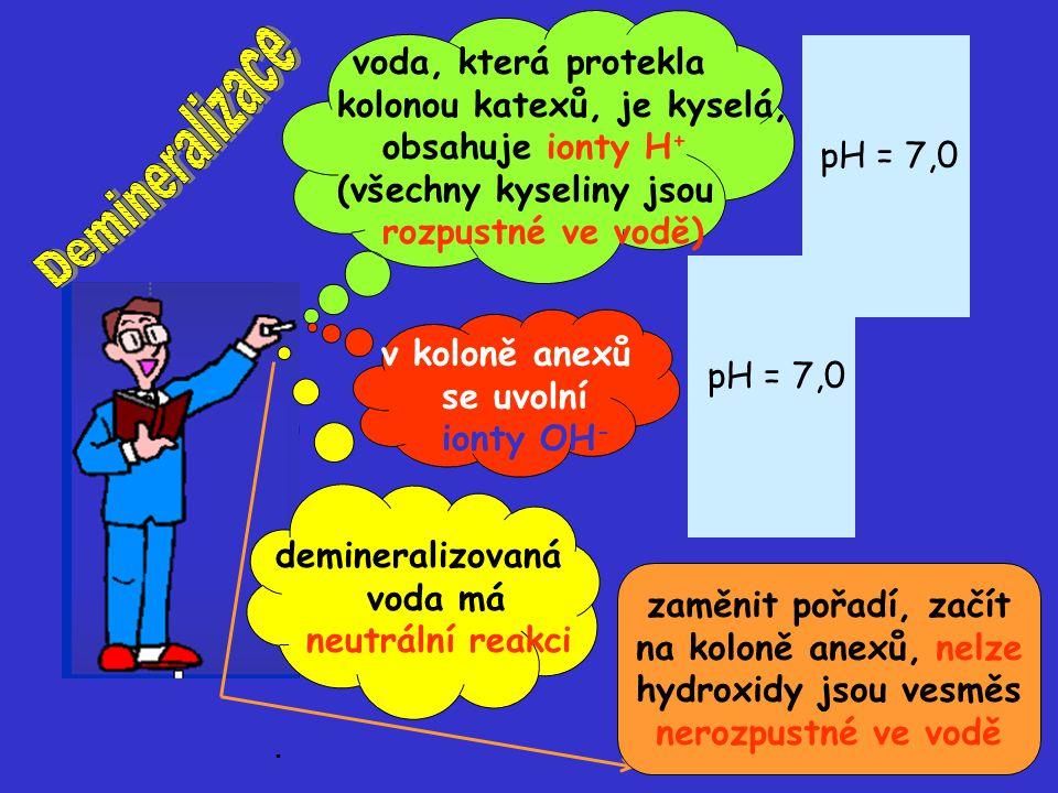 voda, která protekla kolonou katexů, je kyselá, obsahuje ionty H + (všechny kyseliny jsou rozpustné ve vodě) H+H+ H+H+ H+H+ H+H+ v koloně anexů se uvo