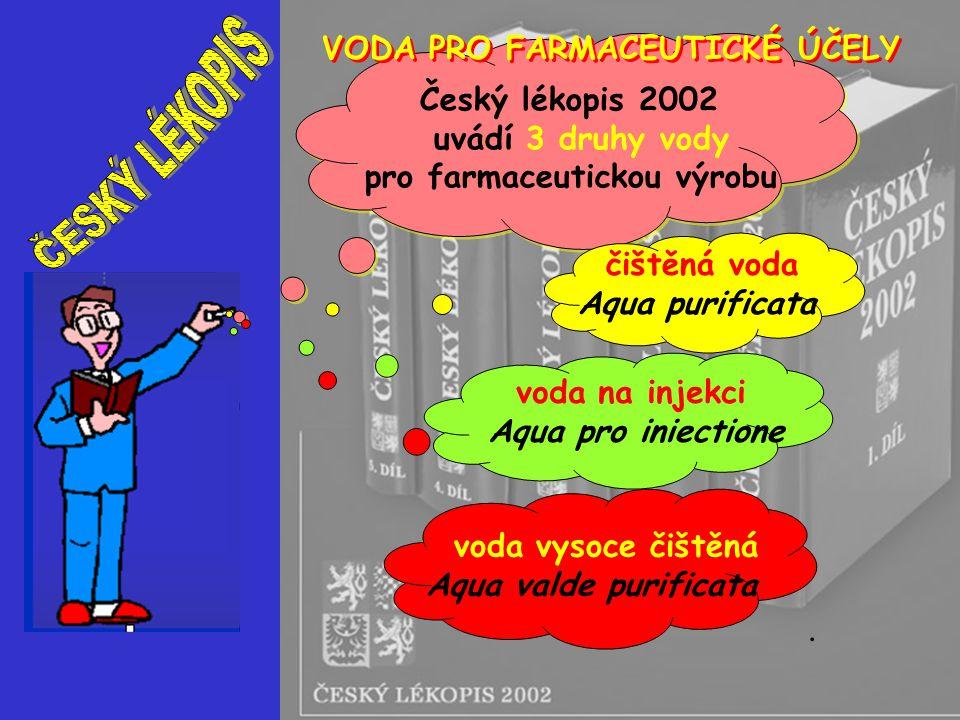 čištěná voda Aqua purificata voda na injekci Aqua pro iniectione voda vysoce čištěná Aqua valde purificata Český lékopis 2002 uvádí 3 druhy vody pro f