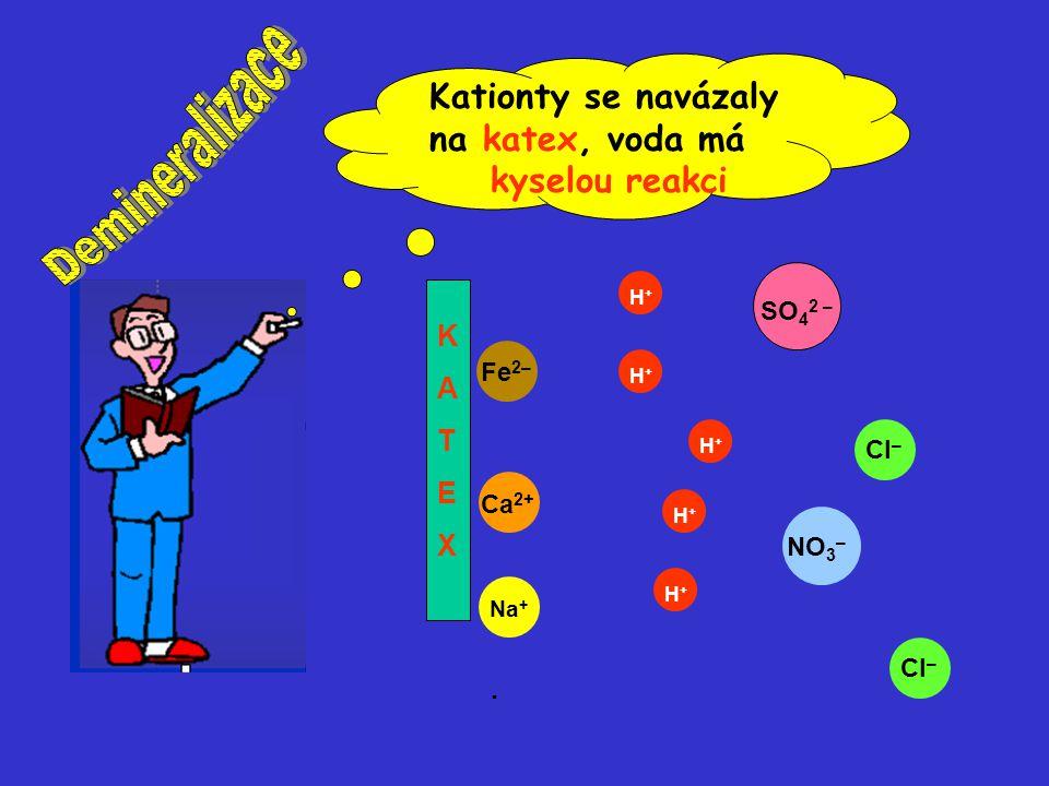 Cl – SO 4 2 – NO 3 – Fe 2– Cl – H+H+ H+H+ Na + H+H+ H+H+ H+H+ Ca 2+ KATEXKATEX Kationty se navázaly na katex, voda má kyselou reakci.