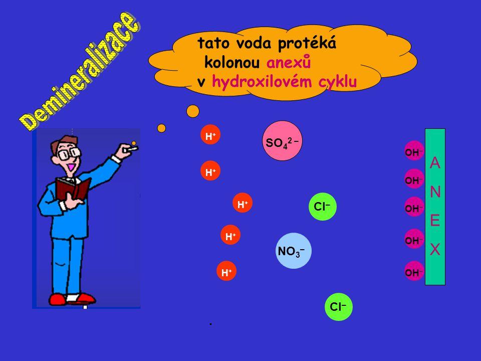 OH – H+H+ H+H+ H+H+ H+H+ H+H+ SO 4 2 – Cl – NO 3 – Cl – ANEXANEX tato voda protéká kolonou anexů v hydroxilovém cyklu.