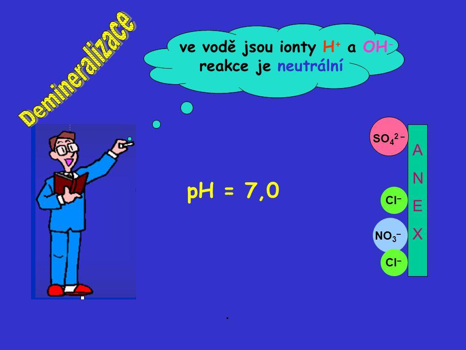 OH – H+H+ H+H+ H+H+ H+H+ H+H+ NO 3 – OH – SO 4 2 – OH – Cl – ANEXANEX Anionty se navázaly na anex. pH = 7,0 ve vodě jsou ionty H + a OH - reakce je ne
