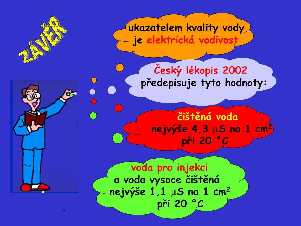 ukazatelem kvality vody je elektrická vodivost Český lékopis 2002 předepisuje tyto hodnoty: čištěná voda nejvýše 4,3  S na 1 cm 2 při 20 °C voda pro