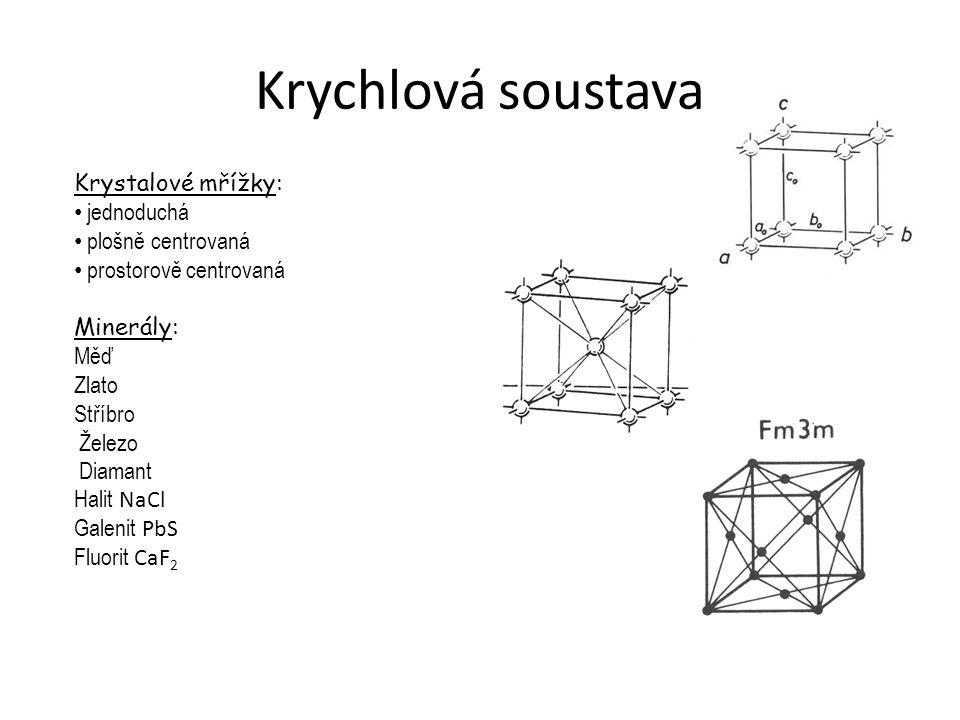 Krychlová soustava Krystalové mřížky: jednoduchá plošně centrovaná prostorově centrovaná Minerály: Měď Zlato Stříbro Železo Diamant Halit NaCl Galenit