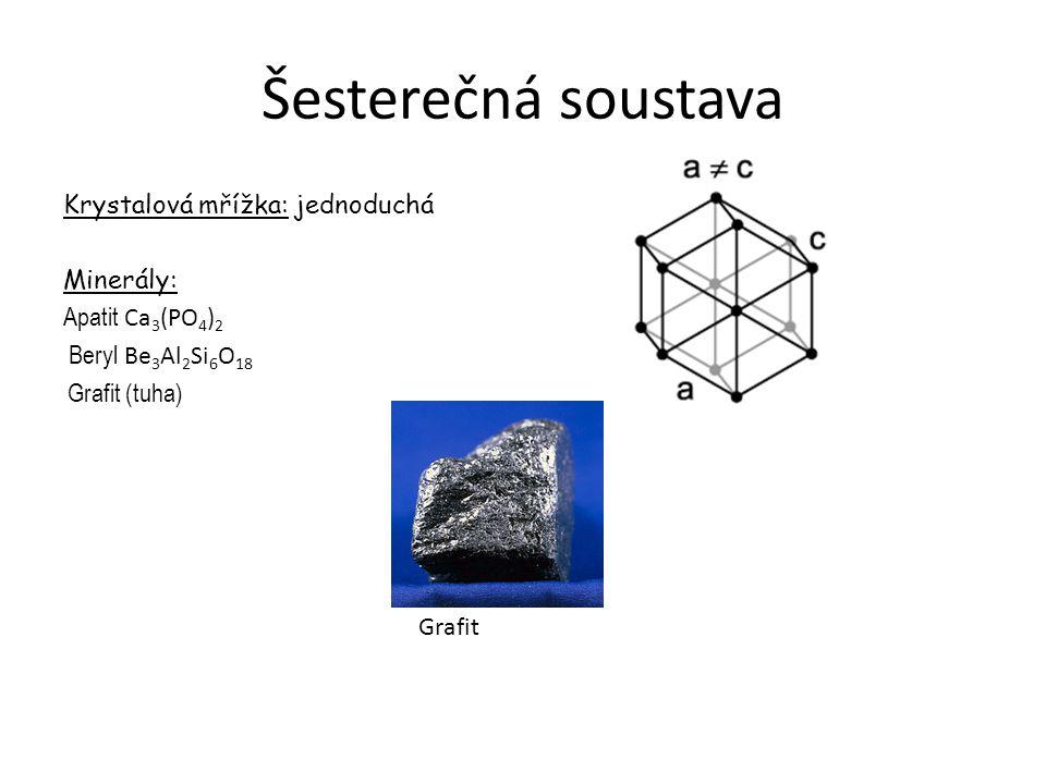 Šesterečná soustava Krystalová mřížka: jednoduchá Minerály: Apatit Ca 3 (PO 4 ) 2 Beryl Be 3 Al 2 Si 6 O 18 Grafit (tuha) Grafit