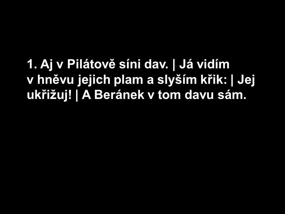 1. Aj v Pilátově síni dav. | Já vidím v hněvu jejich plam a slyším křik: | Jej ukřižuj! | A Beránek v tom davu sám.