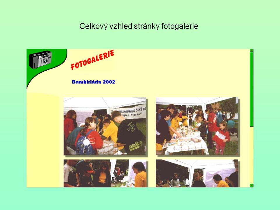 Celkový vzhled stránky fotogalerie