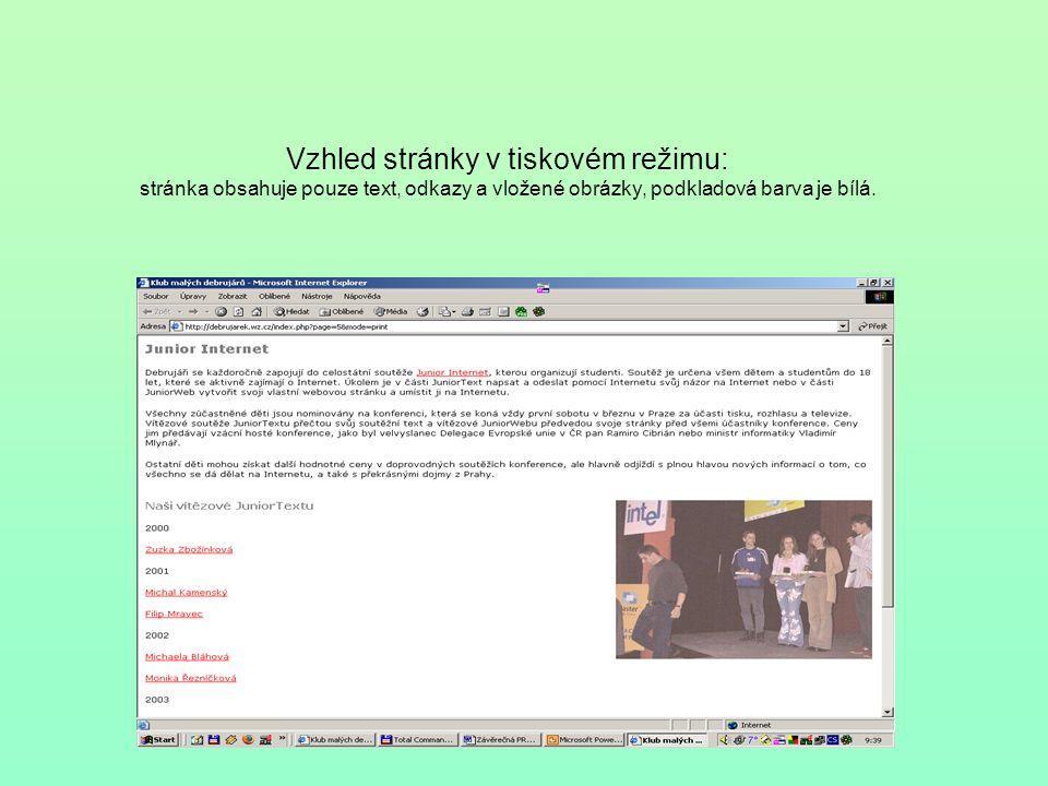 Vzhled stránky v tiskovém režimu: stránka obsahuje pouze text, odkazy a vložené obrázky, podkladová barva je bílá.