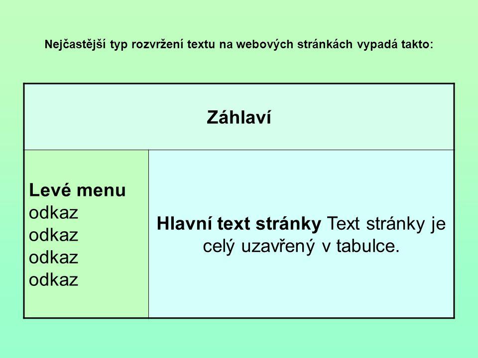 Nejčastější typ rozvržení textu na webových stránkách vypadá takto: Záhlaví Levé menu odkaz odkaz odkaz odkaz Hlavní text stránky Text stránky je celý uzavřený v tabulce.