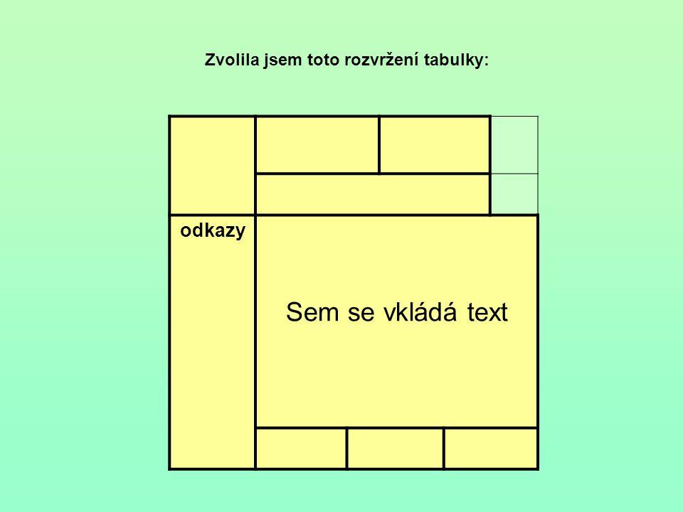 Zvolila jsem toto rozvržení tabulky: odkazy Sem se vkládá text